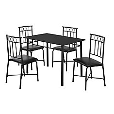 Dining Set - 5Pcs Set / Black Metal And Top