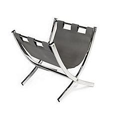 Magazine Rack - Grey Leather-Look / Chrome Metal