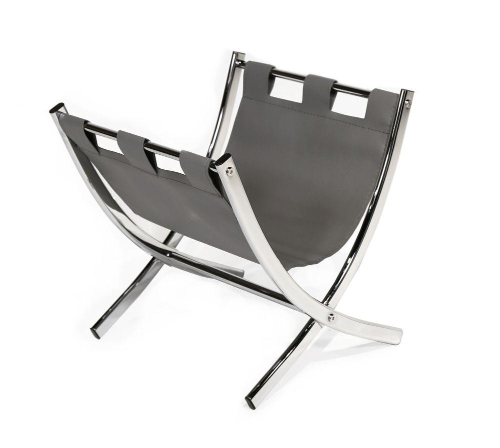 Monarch Specialties Magazine Rack - Grey Leather-Look / Chrome Metal