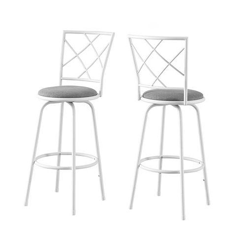 Monarch Specialties Barstool (Set of 2) / Swivel / White Metal / Grey Fabric Seat