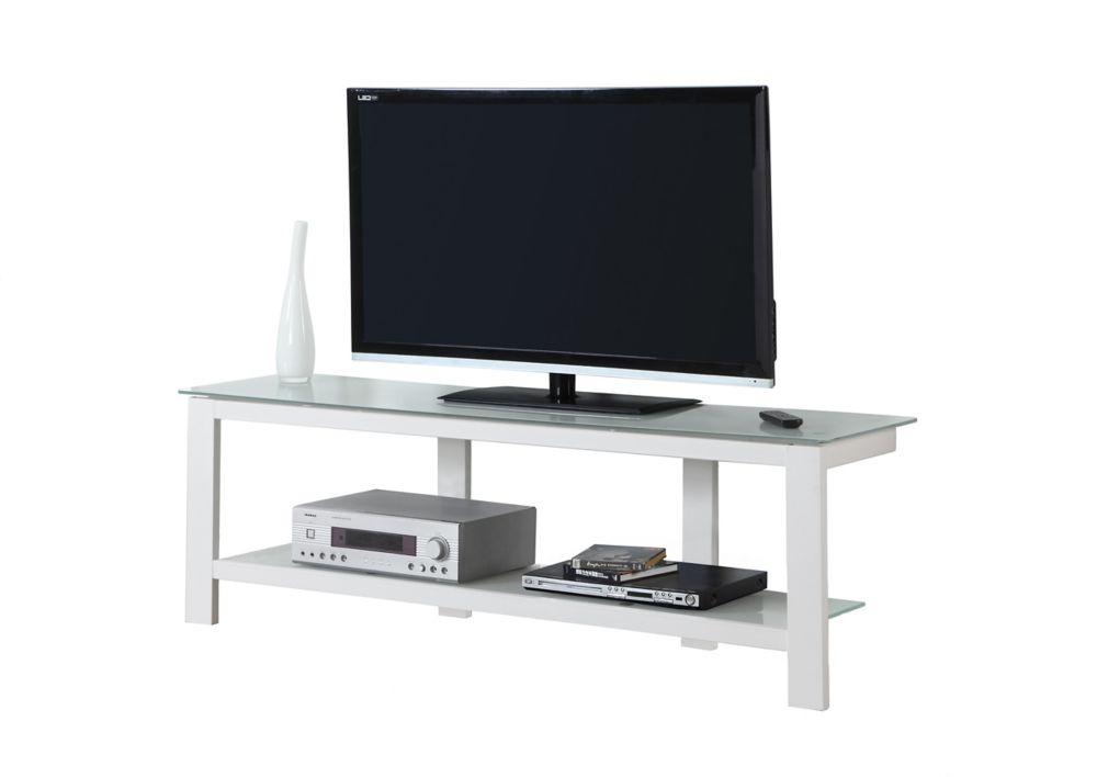 """Meuble Tv - 60""""L / Metal Blanc Avec Verre Trempe Givre"""