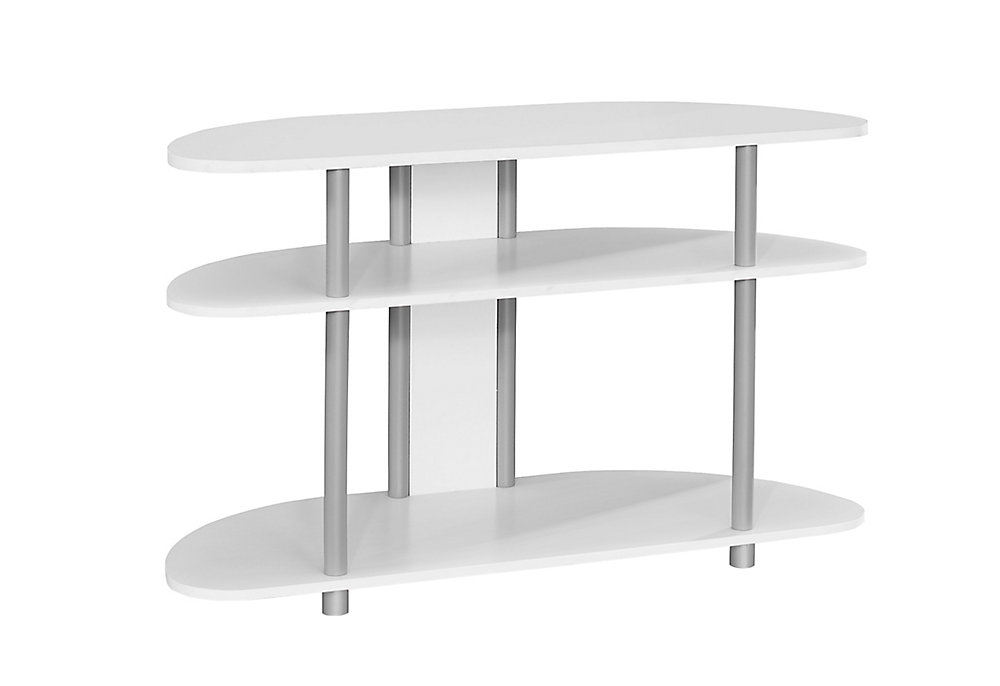 Tv Stand - 38 Inch L / White With Silver Accent