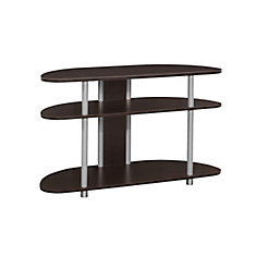 Tv Stand - 38 Inch L / Cappuccino With Silver Accent