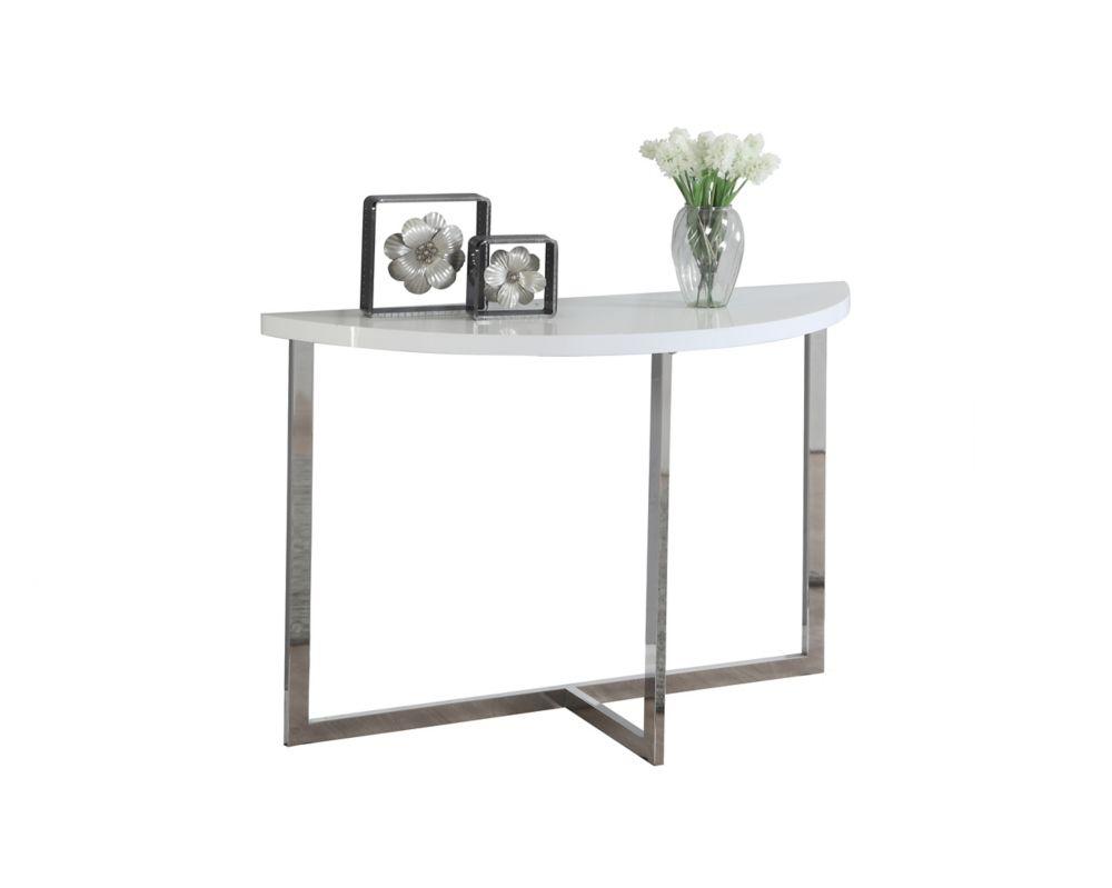 """Table Console - 48""""L / Blanc Lustre / Metal Chrome"""