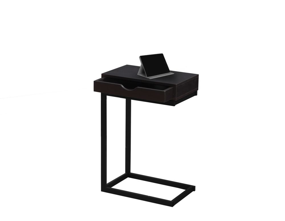 Monarch Specialties Accent Table - Cappuccino / Black Metal With A Drawer