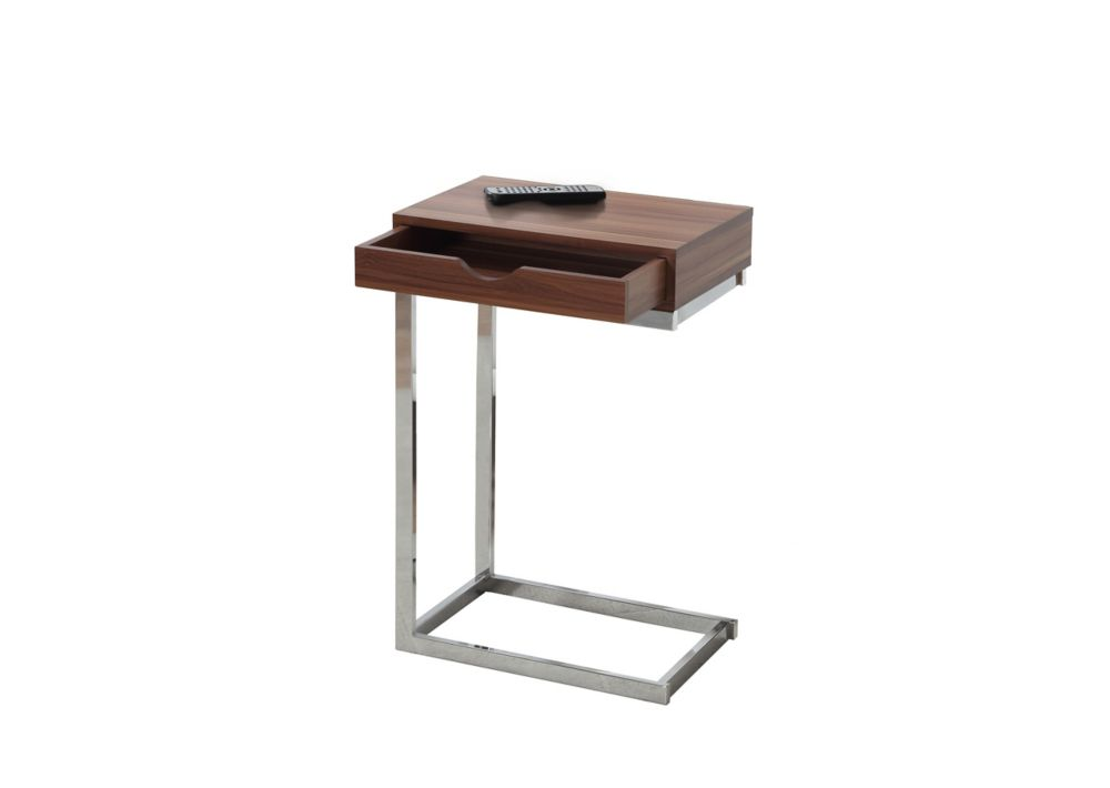 Accent Table - Walnut / Chrome Metal With A Drawer