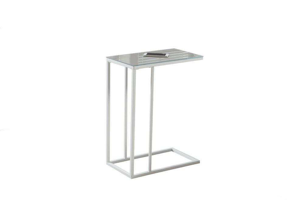 Table D'Appoint - Metal Blanc Et Dessus Miroir