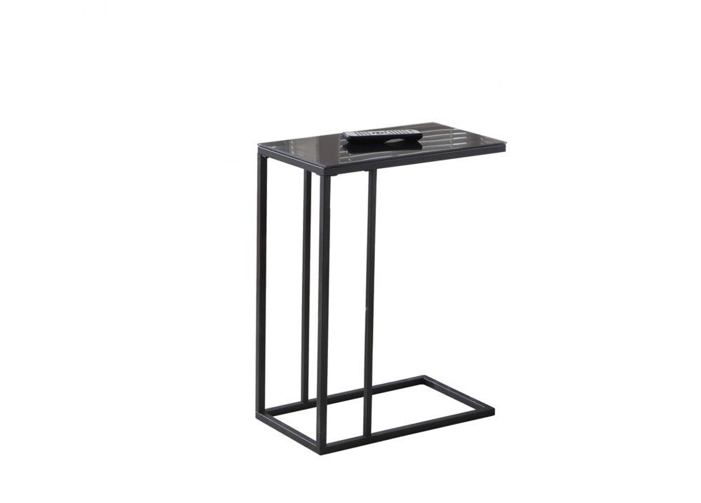 Table D'Appoint - Metal Noir / Verre Trempe Noir