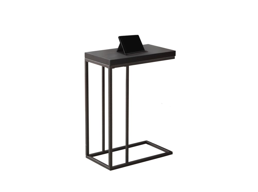 Monarch Specialties Accent Table - Cappuccino / Bronze Metal