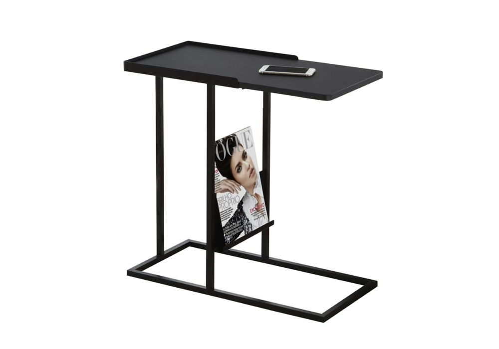 Monarch Specialties Accent Table - Black / Black Metal With A Magazine Rack