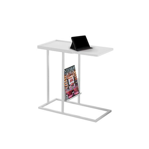 Monarch Specialties Accent Table - White / White Metal With A Magazine Rack