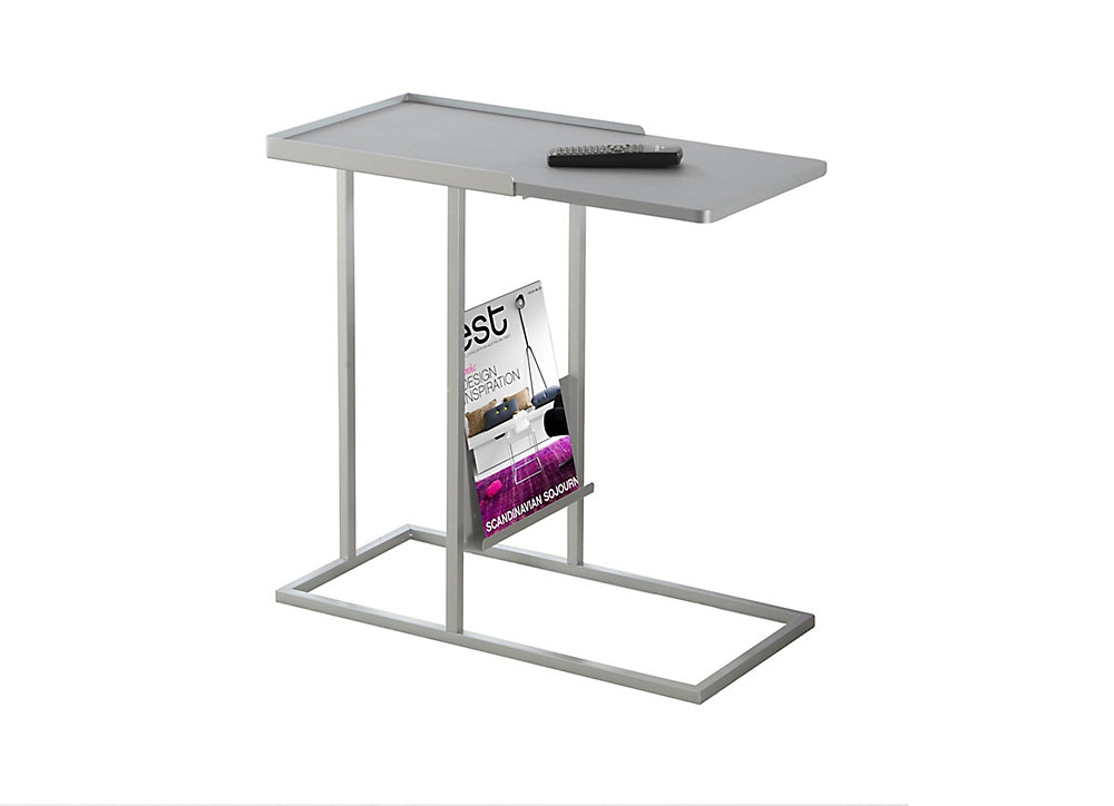 Accent Table - Grey / Silver Metal With A Magazine Rack