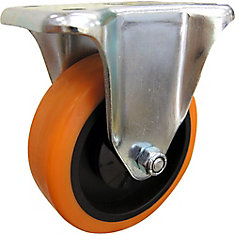 4 inch Orange TPU Rigid Caster with 300 lb. Load Rating