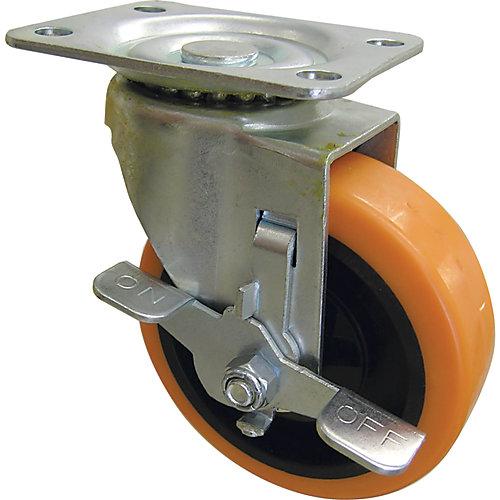 Roulette pivotante orange de 76 mm TPU avec capacité de charge et frein de 102 kg