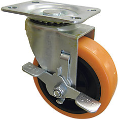 3 inch Orange TPU Swivel Caster with 225 lb. Load Rating and Brake