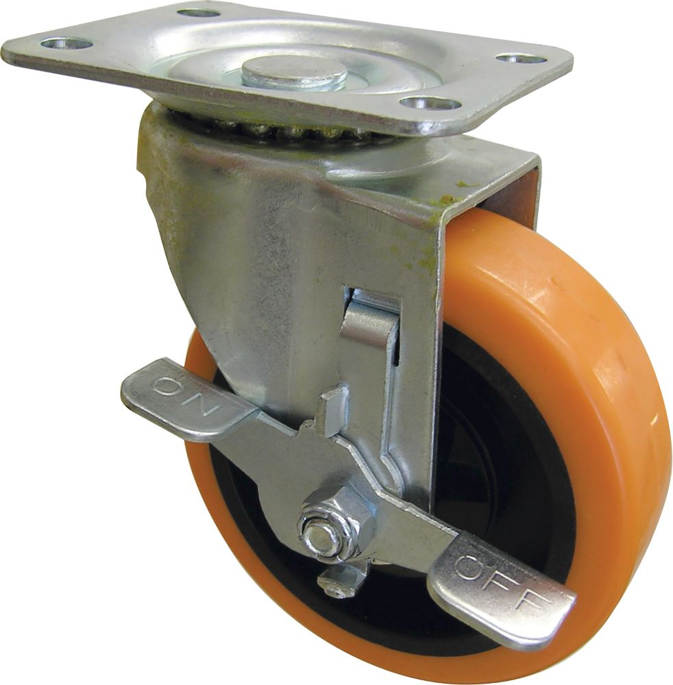 Everbilt 3 inch Orange TPU Swivel Caster with 225 lb. Load Rating and Brake