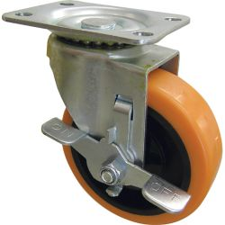 Everbilt 3-inch Orange TPU Swivel Caster with 225 lbs. Load Rating and Brake