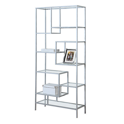 32-inch x 72-inch x 12-inch Glass  Metal Cubed Bookcase in Silver
