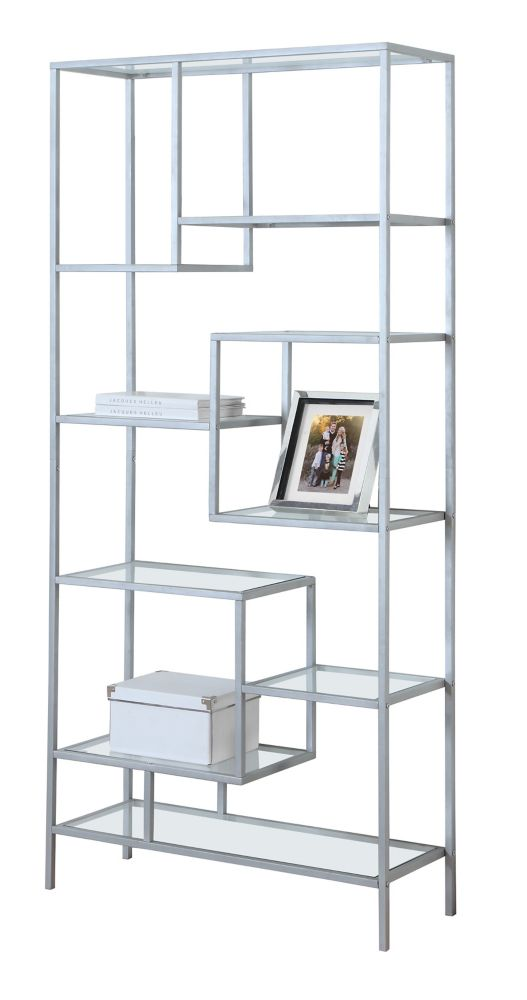 Bookcase - 72 Inch H / Silver Metal With Tempered Glass