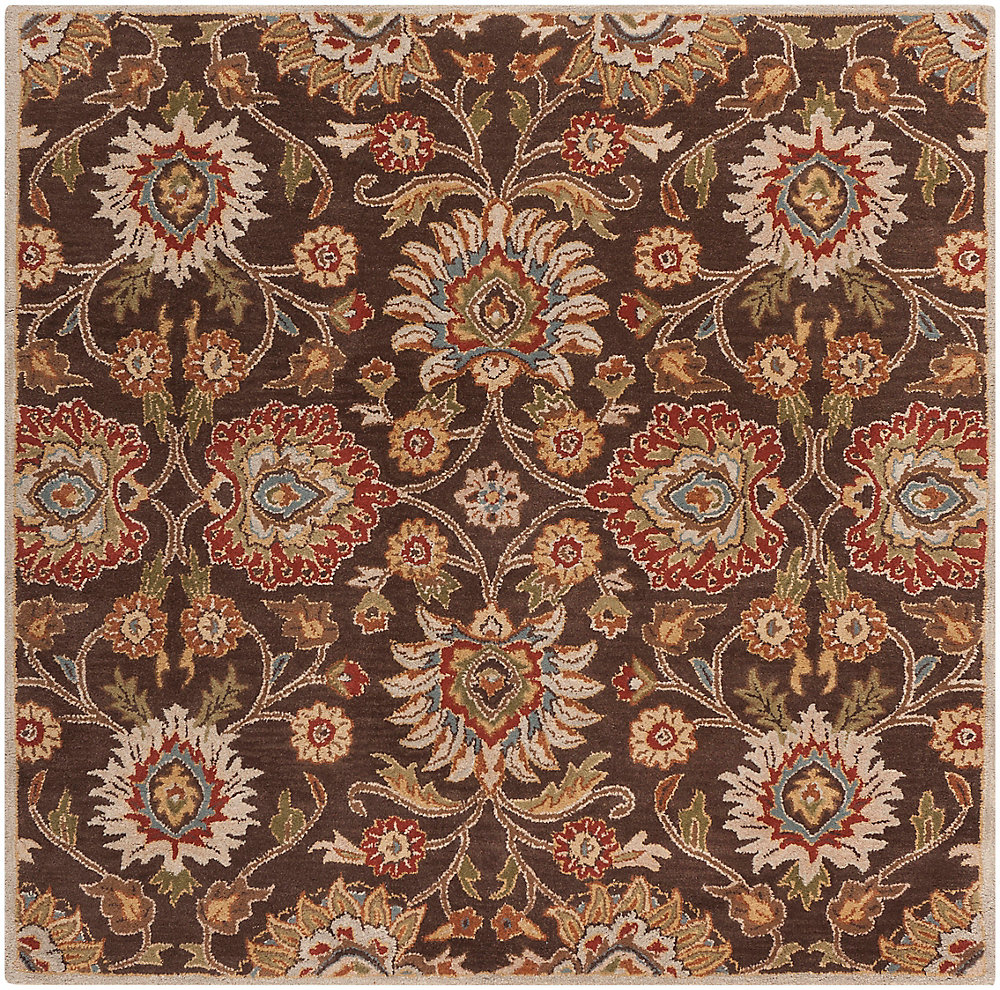 Cambrai Brown 4 Feet x 4 Feet Square Indoor Area Rug