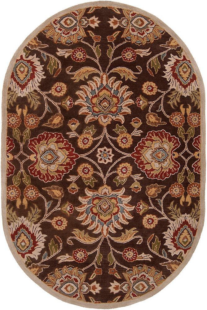 Cambrai marron 6 ft. X 9 ft. ovale tapis interieur