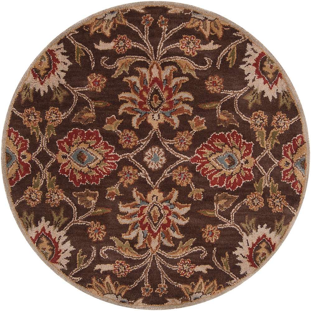 Cambrai Brown 8 Feet x 8 Feet Round Indoor Area Rug