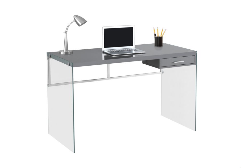 Computer Desk - 48 Inch L / Glossy Grey / Tempered Glass