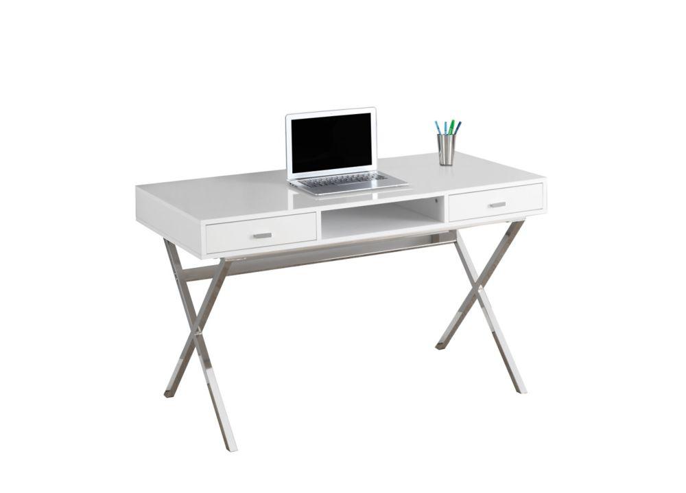 Computer Desk - 48 Inch L / Glossy White / Chrome Metal