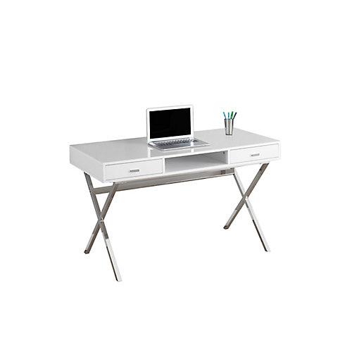 47-inch x 29-inch x 24-inch Computer Desk in Glossy White & Chrome