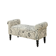 Bench - 44 Inch L / Traditional Style Vintage French Fabric
