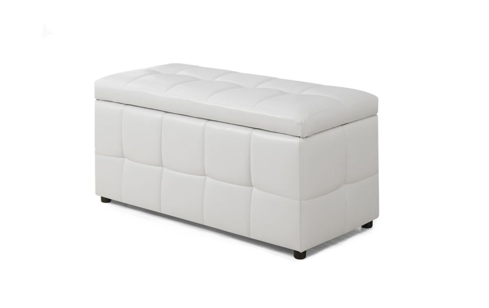 Ottoman - 38 Inch L / Storage / White Leather-Look