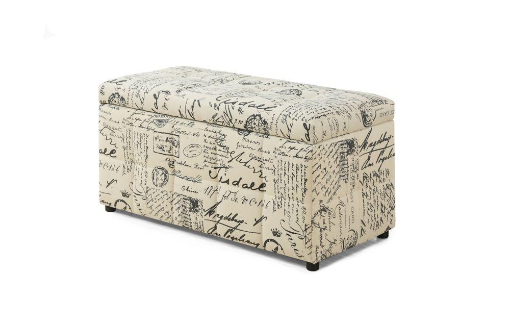Ottoman - 38 Inch L / Storage / Vintage French Fabric