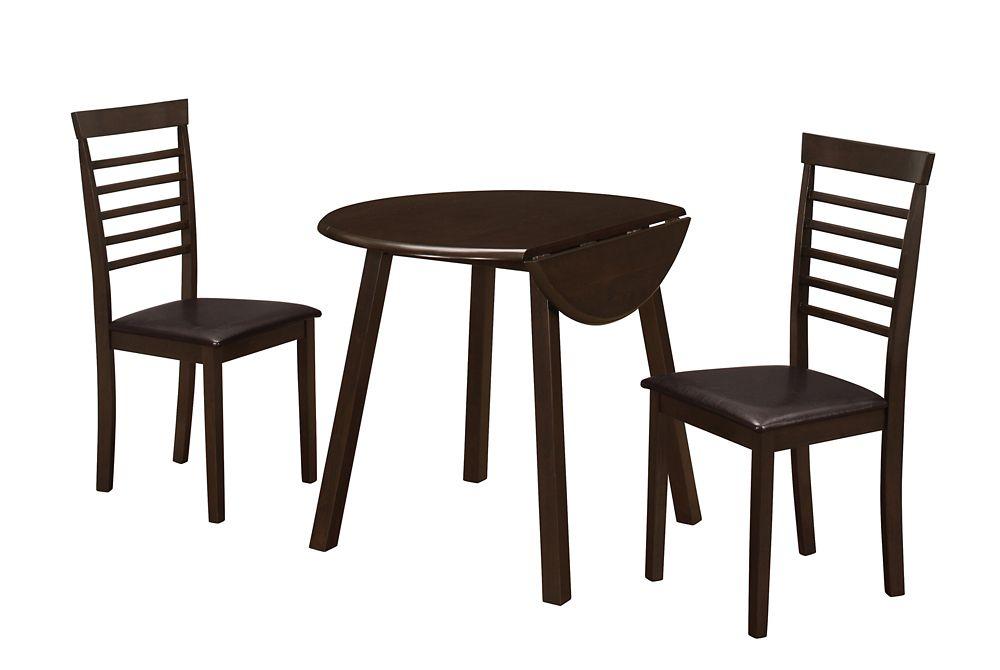 Dining Set - 3Pcs Set / Cappuccino 36 Inch Dia Drop Leaf Table
