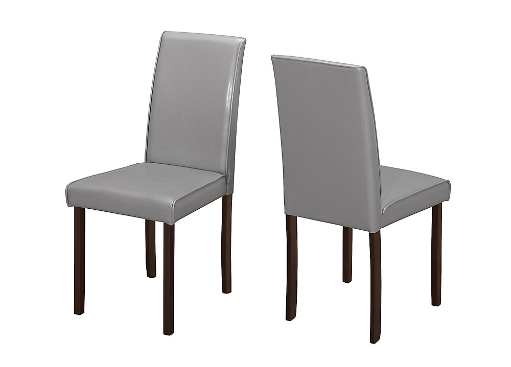 Solid Wood Brown Parsons Armless Dining Chairs wth Grey Faux Leather Seats (Set of 2)