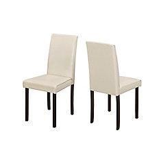 chaises salle manger parsons sans bras avec siges recouverts en similicuir ivoire ensemble - Chaise De Salle A Manger
