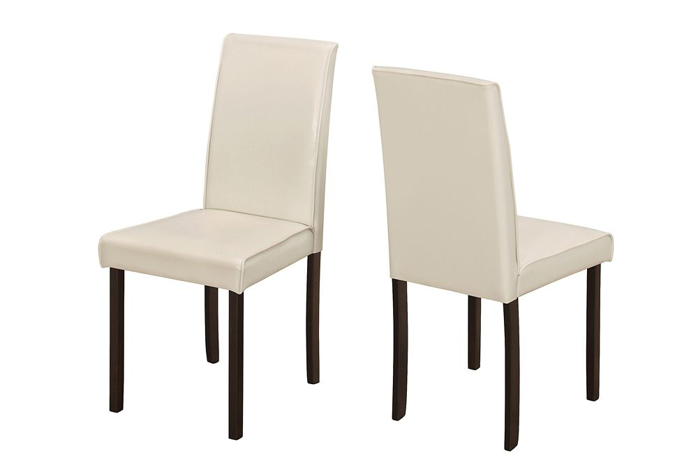 Monarch Specialties Solid Wood Brown Parsons Armless Dining Chairs wth Ivory Faux Leather Seats - Set of 2