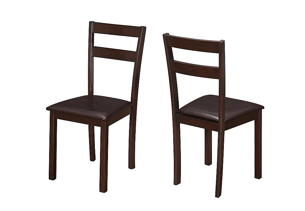 Chaise sans accoudoirs à dossier à traverses, marron, siège similicuir marron, ens. de 2