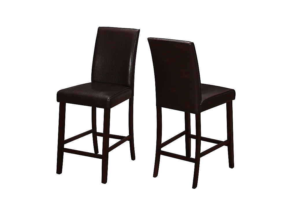 Brown Parson Armless Dining Chair with Brown Faux Leather Seat (Set of 2)