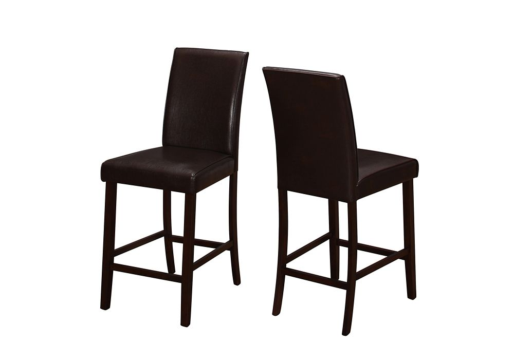 Monarch Specialties Brown Parson Armless Dining Chair with Brown Faux Leather Seat - Set of 2
