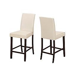 Monarch Specialties Chaise Parson sans accoudoirs, marron, siège similicuir blanc, ens. de 2