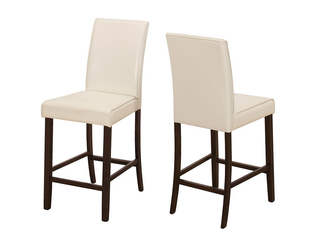 Monarch Specialties Brown Parson Armless Dining Chair with White Faux Leather Seat - Set of 2