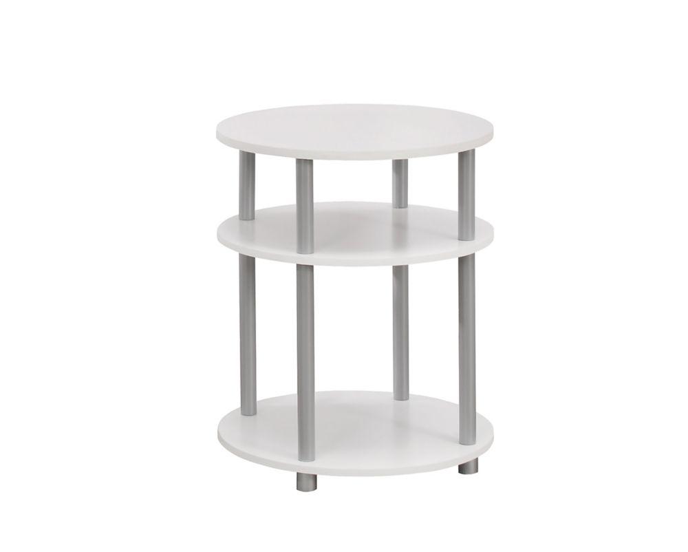 """Table D'Appoint - 19""""Dia / Blanc Avec Accent D'Argent"""