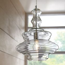 Home Decorators Collection Andrell 1-Light 60W Chrome Schoolhouse Pendant with Clear Glass Shade