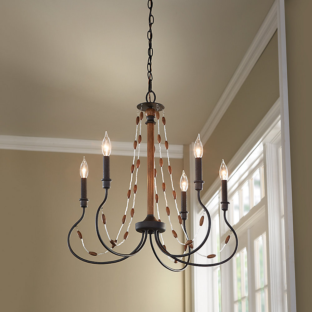 5-Light 60W Bronze Chandelier with Wooden Bead Accents