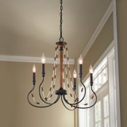 Home Decorators Collection 5-Light 60W Bronze Chandelier with Wooden Bead Accents