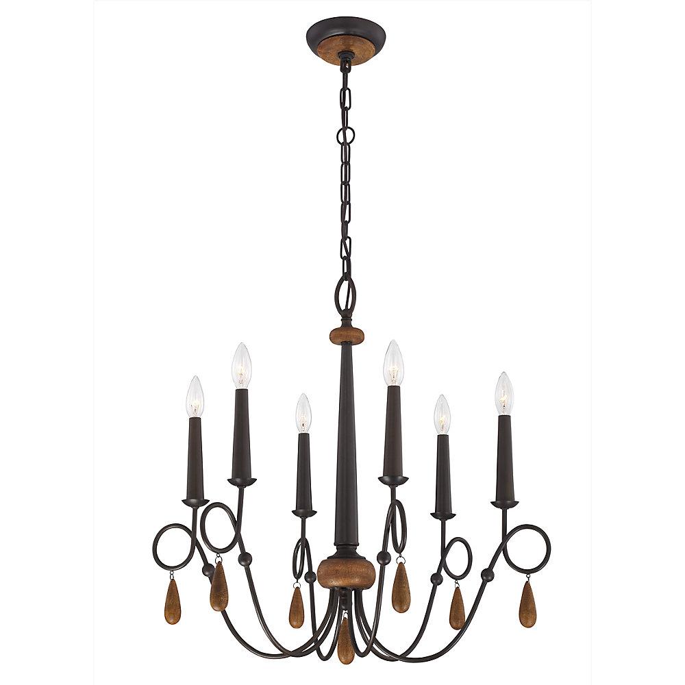 6-Light 60W Bronze Chandelier with Wooden Teardrop Beads