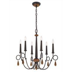 Home Decorators Collection Lustre bronze, 6ampoules, 60W, ornementé de perles de bois
