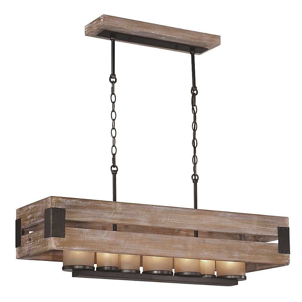 7-Light Black-Aged Metal and Rustic Wood Linear Chandelier