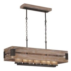 Home Decorators Collection 7-Light Black-Aged Metal and Rustic Wood Linear Chandelier