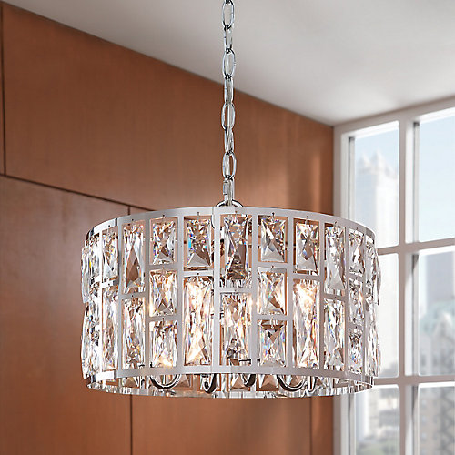 Kristella 4-Light Chrome Chandelier with Crystal Accented Shade